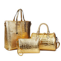Wholesale hot selling shoulder bags High quality crocodile skin pattern pu leather tote bags handbags purses set fashion woman handbag kit