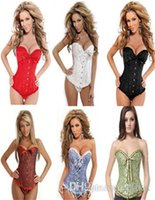 Wholesale Women s Sexy Lace up Back Satin Boned Corset Bustier G string Size S XL Good Quality
