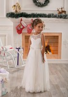 Wholesale 2016 Little Girls Pageant Dresses Lovely Style Ball Gown A Line Flower Girls Dresses White Jewel Lace Dresses