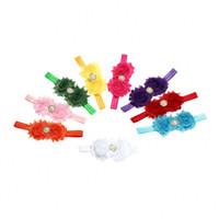 Wholesale 9 Colors Baby Headband Lovely Colorful Twin Flower Hair Band Pearl Rhinestone Headwear Fuzzy Border