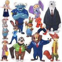 Wholesale 120pcs set Zootopia Action Figure toys cm cartoon PVC Mini Models fox Nick bunny Judy sloth doll toy opp bag packing kids gift