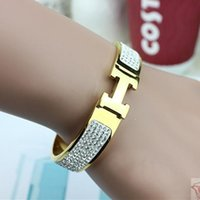 american h - 2016 new fashion women silver K Rose Gold Bangle with diamond H buckle titanium steel bracelet