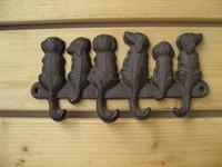 Wholesale 3 Pieces Rustic Cast Iron Dogs Key Rack Wall Mounted Wall Coat Hooks Key Holder Hanging Decor Hat Hook Decor