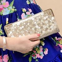 american grain - 2016 new designer fashion gold clutches purses golden stone grain fashion trend female purse wallet Z M0874