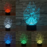 Wholesale Star Wars Series D Acrylic LED Lights Vision Stereoscopic Lamps Gradient Colorful Desk Table Room Night Light Touch Decor Lamp