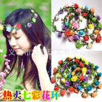 Wholesale Simulation of small colorful garlands of roses ring headdress headdress resin crafts photography