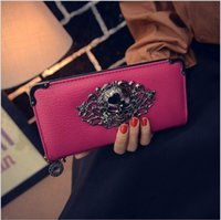 Cheap 2015 New High Quality Women Long Wallets Brand Designer PU leather Womens Wallets and Purses Skull head Chain Handbag