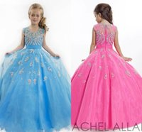 Wholesale Blue RACHEL ALLAN Girls Pageant Dresses Sheer Crew Neck Tulle Rhinestone Crystal Beads Glitz Ball Flower Girls Gowns HY00794