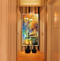 benches for living rooms - large Hand painted street lights bench night home decoration modern wall art picture modern wall decor art set for living room gift