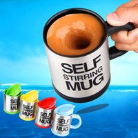 auto coffee cups - hot sale New Stylish colors Stainless Steel Lazy Self Stirring Mug Auto Mixing Tea Milk Coffee Cup Office Gift Eco Friendly
