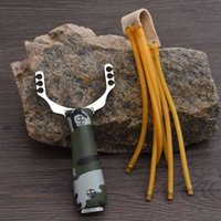 Wholesale New Powerful Slingshot Aluminium Alloy Slingshot Camouflage Bow Catapult Outdoor Hunting Slingshot