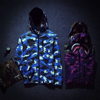 Wholesale High Quality Camo Shark Jacket For Men Outdoor Sports Hoodies Military Style Winter Hunt Coats Green Purple Blue Jackets FXF0723