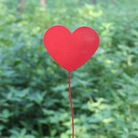 Wholesale D10 H45CM Red Metal Tag for Metal Bucket Decoration Heart Sharp Modern Garden Supplies Garden Tag