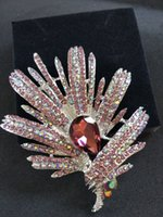 american accents - Vintage Style Purple and Iridescent pear cut Stone Domed Leaf Brooch Accented with Silver Tones Full Crystal Pave Multi Color Leaves Pin