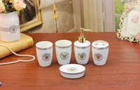 Wholesale White Color Ceramic Bathroom Accessories Elegant Pieces Bathroom sets soap bottle soap dish toothbrush holder cups LH30