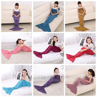 Wholesale Baby Crochet Mermaid Blankets Handmade Mermaid Tail Blankets Kids Mermaid Tail Sleeping Bag Knit Sofa Nap Blankets Costume Cocoon B1174
