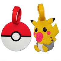 adress labels - DHL New Poke Go Pikachu Luggage ID Tags Labels Travel Boarding Adress ID Card Case Bag Collectibles Keychain Key Rings Toys Gifts WX K01