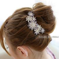 Wholesale 2016 Acrylic Hair Pins Crystal Tiara Hair Accessories For Wedding Quinceanera Tiaras And Pageant Rhinestone Faux Pearl Hair Pins P1001