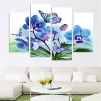 More Panel orchid wall decor - Beautiful butterfly orchid flowers printed on canvas for living room home decor wall art oil painting no frame h