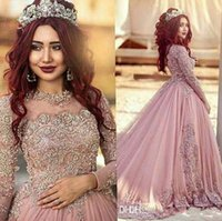 Wholesale 2017 New Sexy Arabic Prom Dresses Jewel Neck Illusion Lace Appliques Beaded Tulle Long Sleeves Court Train Formal Party Dress Evening Gowns