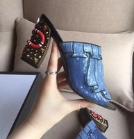 amazing pu leather - 2016 AMAZING SUMMER COLLECTION Womne s Light blue trompe l oeil sequin embroidery Sandals with hand painted snake and stud heel