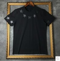 Wholesale 2016 High Quality new fashion Black star famous luxury brand given tee t shirts for men women cotton