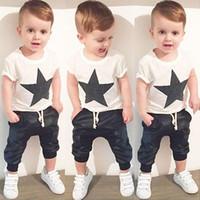 Summer baby star suit - Boys INS star cotton set suits Summer children fashion ins Short sleeve T shirt Harem shorts set suits baby clothes B
