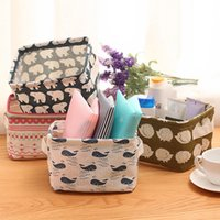Wholesale Fresh linen with handle desk debris basket remote storage box on the table cloth cosmetics storage basket