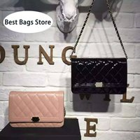 Wholesale BSD Original Leather C Genuine Leather Patent Leather Pink Red Black Blue Wallet On Chain WOC Mini Flap Messenger Bags