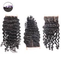 Wholesale 6A Brazilian Virgin Hair Curly Lace Closure x4 Inch Peruvian Malaysian Indian Virgin Human Hair Deep Wave Free Middle Part Lace Closure