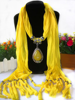 Wholesale Women s shawl scarf foreign trade jewelry tassel scarf agate stone oval flower alloy pendants scarf