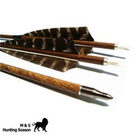 Wholesale Archery Wood Grained Carbon Arrows Removable Broadheads Spine Inch Feather For Hunting Bow Inch PK