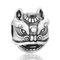 lion charms - Chinese Element Charm Lion Dance Charm Animal Bead Jewelry Sterling Silver Fit Snake Chain Pandora Bracelets For Women No50 lw T199