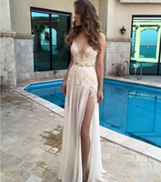 Wholesale Boho Berta Long Beach Wedding Dresses With Sexy Spaghetti Straps Deep V Neck Lace A line High Split Chiffon Floor length Bridal Gowns