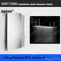 Cheap 20*40 inches luxury big rain shower head 500*1000mm SS brushed overhead rain shower with 4 ceiling arms
