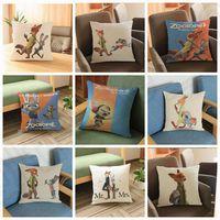 Wholesale 9 design cm Zootopia Judy Hopps Nick Fox cotton linen Pillow Sofa cushion cover Sofa Chair Waist Cushion Cover Case KKA47