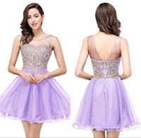 Wholesale 2016 New Black Tulle Beaded Short Homecoming Dresses Lace Applique Crystals Backless Party Cocktail Prom Dresses Graduation Gowns CPS362