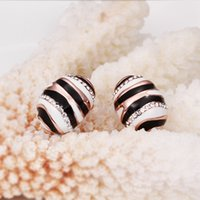bees plants - Brand new sale pairs k k rose gold gemstone bee earrings DFMGE547 factory direct women s rose gold crystal Stud