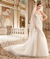 bare heart - 2016 New Mermaid Wedding Dresses With Sweet heart Bare Back Court Train Bridal Gown Beads Crystals Ivory Tulle Custom Made
