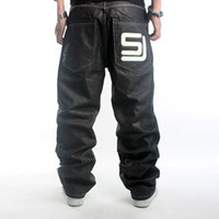 baggy designer jeans - Men s Black Baggy Jeans Hip Hop Designer Brand Skateboard Pants Loose Style True Rap Jeans Boy Oversized Plus Size