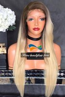 Wholesale Brown to Blonde Ombre Color Silk Top Full Lace Wigs Density inch Brazilian Human Hair Silky Straight Lace Front Wigs