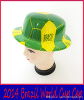 Wholesale Nice Brazil World Cup cap amp hat Fans Commemorate Plastic Hat Nice world cup products DHL Fashion
