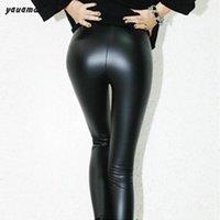 Cheap women pantalon fitness 2016 spring autumn female pu Leather Leggings waist slim pants pantalones femme Black trousers y23
