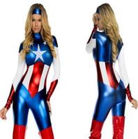 Wholesale Masquerade Captain America Super Heroes Bodysuits Cosplay Halloween Adult Female The Avengers Zentai Teddies Jumpsuits
