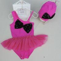 Wholesale Baby Girl One piece One Shoulder Wimsuit Tutu Romper Cap Swimming Suit Children Cute Big Bow Swimwear Girl Beach Bathing Suit