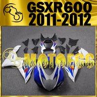 Precio de Suzuki gsxr750 fairing-Cinco regalos Motoegg alta calidad carenados Moldes de Inyección para Suzuki GSXR600 K11 2011 2012 GSX-R600 11 12 GSXR750 carrocería Azul Blanco S62M15
