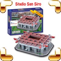 Wholesale New Year Gift San Siro Giuseppe Meazza D Puzzle AC Milan Inter Milan Home Field Stadium Model Building Soccer Center DIY Collection