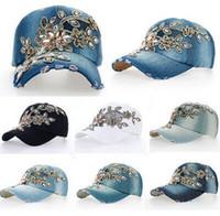Wholesale Fashion baseball cap crystal Rhinestone Floral woman snapback hats denim jeans hip hop women cowboy baseball cap