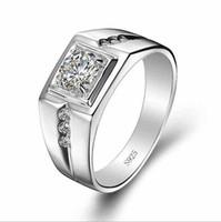 Wholesale 7 sterling silver retro men inlay zircon High imitation diamond wedding ring