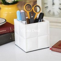 Wholesale Tinyinthebox TM PU Leather Brush Pot Square Desktop Pencil Pen Holder Pot Holder Pen Container Gift for Father or Children